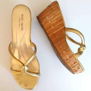 Gold leather and wood wedge sandals